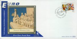 Portugal Discoveries Monument Lisbon EURO currency 1st postal stamps 1999 BENHAM silk cover refD125 In very good condition for age. Please see larger photo and full description for details.