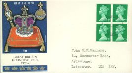 1967-68 Great Britain Definitive Issue 7d stamps cover fdi Leicester FDC refd491 In very good condition. Sealed. Please see larger photo and full description for details.