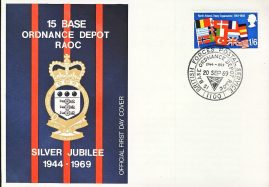 Official Silver Jubilee British Forces 1969 NATO Base Ordnance Depot RAOC stamp cover refD316 In very good condition for age. Please see larger photo and full description for details.