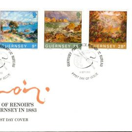1983 Renoir Visits Guernsey 1883 stamps Official First Day Cover refE101130 Cover in Good condition. Unsealed with insert card. Please see larger photo and full description for details.