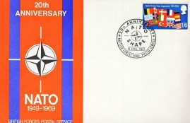 20th Anniversary NATO SHAPE 1949-1969 British Forces Postal Service 1081 stamp cover refD320 In very good condition. Please see larger photo and full description for details.