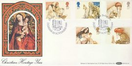 Christian Heritage Year DURHAM 1984 Madonna Child silk Christmas stamps cover refD167 In very good condition. With Insert Card. Please see larger photo and full description for details.