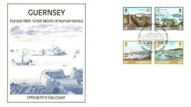 Human Genius 1983 EUROPA CEPT Guernsey stamps Official First Day Cover refE101132 Cover in Good condition. Unsealed with insert card. Please see larger photo and full description for details.