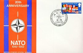 1969 British Forces Postal Service 20th Anniversary NATO HQ stamp cover refD322 In very good condition. Please see larger photo and full description for details.