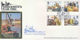 Fishermen Ltd Edition 1981 Lossiemouth to Peterhead Aberdeen Deep Sea stamps cover BOCS(2)5 Benham silk refD168 In very good condition. With Insert Card. Corner crease. Please see larger photo and full description for details.