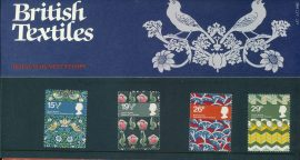 23rd July 1982 British Textiles mint stamps presentation pack refd3209 Please see larger photo and full description for details. Unused stamps.