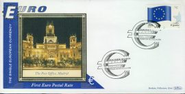 Spain ESPANA Post Office Madrid EURO currency 1st postal stamps 1999 BENHAM silk cover refD126 In very good condition for age. Please see larger photo and full description for details.
