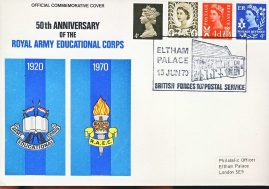 1970 Official Royal Army Educational Corps 50th Anniversary stamps cover special handstamp postmark refD326 In very good condition. Please see larger photo and full description for details.