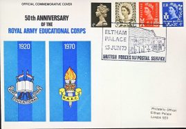 Special commemorative stamp cover 1970 R.A.F.C. Army Education ELTHAM PALACE refD327 In very good condition. Please see larger photo and full description for details.