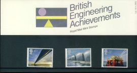 25th May 1983 British Engineering Achievements mint stamps presentation pack refd3195 Please see larger photo and full description for details. Unused stamps.