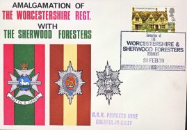 1970 Worcestershire Regt. & Sherwood Foresters HRH Princess Anne Colonel-in-Chief stamp cover refD331 In good condition with handling mark on front and back. Please see larger photo and full description for details.