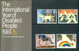 1981 International Year of Disabled People mint stamps presentation pack refd100200 Please see larger photo and full description for details. Unused stamps.