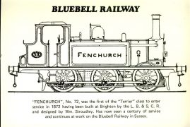 1972 Bluebell Railway Official Centenary Postcard Fenchurch refd32 Please see larger photo and full description for details.