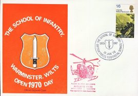 British Forces 1110 Postal Service School of Infantry WARMINSTER OPEN DAY 1970 stamp cover refD334 In very good condition. Please see larger photo and full description for details.