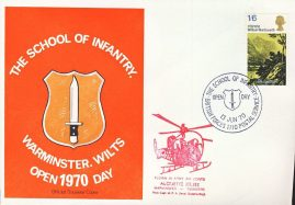 INFANTRY SCHOOL WARMINSTER 1970 ALOUTTE XR.382 Helicopter flown stamp cover refD335 In very good condition. Please see larger photo and full description for details.