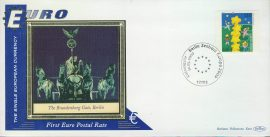 Germany Brandenberg Gate BERLIN EURO currency 1st postal stamps 2000 BENHAM silk cover refD129 In very good condition for age. Please see larger photo and full description for details.
