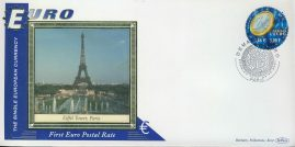France Eiffel Tower PARIS EURO currency 1st postal stamps 2001 BENHAM silk cover refD130 In very good condition for age. Please see larger photo and full description for details.
