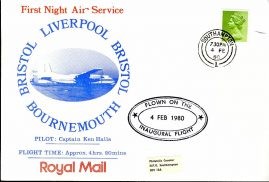 1980 Southampton date stamp Flown Royal Mail 1st Night Air Service BRISTOL LIVERPOOL BOURNEMOUTH refD200  In very good condition. No Insert Card. Please see larger photo and full description for details.
