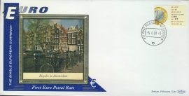 Amsterdam Bicycles EURO currency 1st postal stamps 1999 BENHAM silk cover refD131 In very good condition for age. Please see larger photo and full description for details.