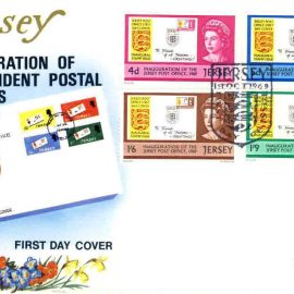 1st October 1969 Jersey Stamps Inauguration First Day Cover WESSEX cover refE101096 Cover in Good condition. Unsealed - blank insert. Please see larger photo and full description for details.