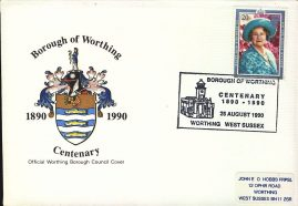 Official Cover 1990 Borough of Worthing Council Centenary Numbered refD203  In very good condition. With Insert Card. Please see larger photo and full description for details.
