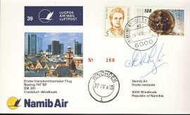 Namib Air Boeing 747 SP SW301 Signed Postcard Frankfurt-Windhoek NAMIBIA refD204 In very good condition. With Insert Card. Please see larger photo and full description for details.