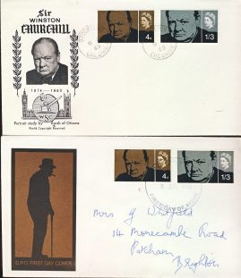 1965 Winston Churchill covers x 2 Stockport & BRIGHTON postmarks refD205 In very good condition for age. Addressed and Posted Envelope is sealed. Unaddressed envelope is unseald with an insert card. Please see larger photo and full description for details.