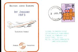 BRITIAN JOINS EUROPE 1973 European Airbus maiden flight flown stamp cover CDS postmark Hatfield Herts 3p Eupropean Communities Stamp refE1156 Cover & Stamp in very good condition. Unsealed - with insert. Please see larger photo and full description for details.
