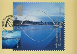 GATESHEAD MILLIENIUM BRIDGE Postcard 6th June 2000 special hand stamp postmark refE164 Special Hand Stamped Royal Mail Postcard in Very Good Condition - address label on reverse.