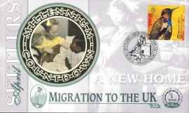 MIGRATION TO THE UK A new home Settlers BIRMINGHAM 6th April 1999 LTD ED stamp cover refE68 Benham Millennium Collection Limited Edition Cover Silk Cache Picture / Stamp Cover in very good condition. Unsealed with blank insert. Reverse side has text information regarding cover topic.  Please see larger photo and full description for details.
