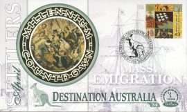 DESTINATION AUSTRALIA Settlers Mass Emigration SOUTHAMPTON 6th April 1999 LTD ED stamp cover refE69 Benham Millennium Collection Limited Edition Cover Silk Cache Picture / Stamp Cover in very good condition. Unsealed with blank insert. Reverse side has text information regarding cover topic.  Please see larger photo and full description for details.