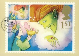 Aladdin & the Genie Arabian Nights GREETINGS Postcard CAKE special hand stamp postmark 1993 refE215 Special Hand Stamped Royal Mail Postcard in Very Good Condition - address label on reverse.