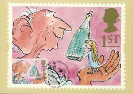 ROALD DAHL The BFG Big Friendly Giant Postcard 1993 CAKE special hand stamp postmark GREETINGS refE217 Special Hand Stamped Royal Mail Postcard in Very Good Condition - address label on reverse.