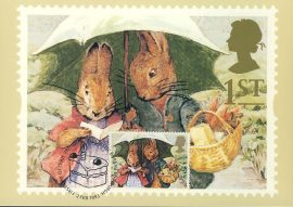BEATRIX POTTER Characters from Peter Rabbit Postcard special CAKE hand stamp postmark GREETINGS refE219 Special Hand Stamped Royal Mail Postcard in Very Good Condition - address label on reverse.