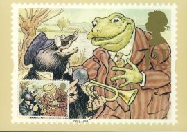 KENNETH GRAHAME Wind in the Willows Postcard special hand stamp CAKE 1993 postmark refE221 Special Hand Stamped Royal Mail Postcard in Very Good Condition - address label on reverse.