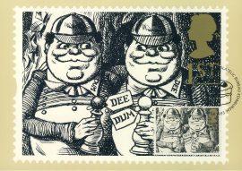LEWIS CARROLL Alice in Wonderland Tweedledum Tweedledee Postcard special hand stamp CAKE 1993 postmark refE223 Special Hand Stamped Royal Mail Postcard in Very Good Condition - address label on reverse.
