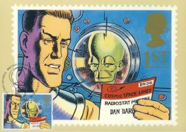 Eagle DAN DARE & THE MEKON Postcard illustrated by Paul Slater 1994 postmark refE224 Special Hand Stamped Royal Mail Postcard in Very Good Condition - address label on reverse.