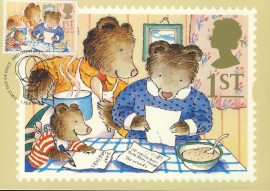 The Three Bears greetings stamp Postcard postmark 1994 based on an illustration from The Jolly Postman refE226 Special Hand Stamped Royal Mail Postcard in Very Good Condition - address label on reverse.