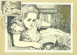 Greetings Alice in Wonderland by Lewis Carroll Postcard illust By Paul Tanniell 1994 postmark refE228 Special Hand Stamped Royal Mail Postcard in Very Good Condition - address label on reverse.