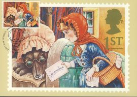 Greetings Red Riding Hood & the Wolf illust by Alan Cracknell Postcard 1994 postmark refE229 Special Hand Stamped Royal Mail Postcard in Very Good Condition - address label on reverse.