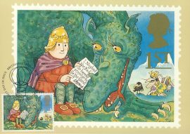 Noggin & the Ice Dragon illustrated by Peter Firmin Postcard 1994 postmark Greetings refE230 Special Hand Stamped Royal Mail Postcard in Very Good Condition - address label on reverse.