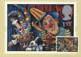GREETINGS Circus Clown by Emily Firmin & Justin Mitchell Postcard LOVINGTON 1995 special hand stamp postmark refE234 Special Hand Stamped Royal Mail Postcard in Very Good Condition - address label on reverse.