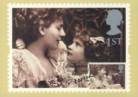 ALICE HUGHES Alice Keppel with her daughter Violet Postcard special hearts LOVINGTON hand stamp postmark 1995 refE237 Special Hand Stamped Royal Mail Postcard in Very Good Condition - address label on reverse.