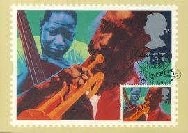 JAZZ by Andrew Mockett Postcard by Wm Claxton using photos of Kenny Dorham & Curtis Counce special hand stamp postmark HEARTS Lovington 1995 Castle Cary Somerset refE239 Special Hand Stamped Royal Mail Postcard in Very Good Condition - address label on reverse.