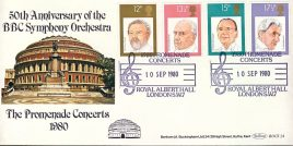 BBC SYMPHONY ORCHESTRA Royal Albert Hall London SW7 1980 Promenade Concerts special handstamp stamps cover Benham refE18 Cover in very good condition. Unsealed with insert. Please see larger photo and full description for details.