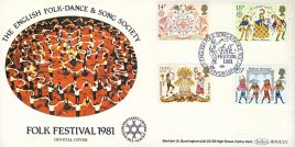 English Folk-Dance & Song Society 1981 Festival London SW16 Official stamps cover Benham refE19 Cover in very good condition. Unsealed with insert. Please see larger photo and full description for details.
