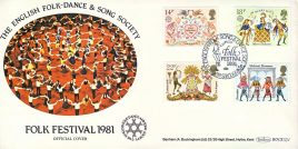 1981 Folk Festival London SW1 English Folk-Dance & Song Society Official stamps cover Benham refE21 Cover in very good condition. Unsealed with insert. Please see larger photo and full description for details.