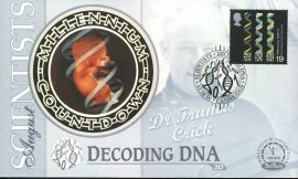 DECODING DNA Scientists DR FRANCIS CRICK Cambridge 3rd Aug 1999 LTD ED stamp cover refE86 Benham Millennium Collection Limited Edition Cover Silk Cache Picture / Stamp Cover in very good condition. Unsealed with blank insert. Reverse side has text information regarding cover topic.  Please see larger photo and full description for details.
