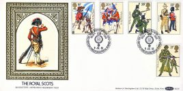 Royal Scots Musketeer Hepburn's Regiment 1633 British Force 0350 Postal Service stamps cover Benham Silk refE3 Cover in very good condition. Unsealed with insert. Please see larger photo and full description for details.