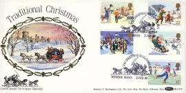 Traditional Christmas Carried aboard The Windsor Mailcoach special postmark 1990 stamps cover Benham refE4 Cover in very good condition. Unsealed with insert. Please see larger photo and full description for details.